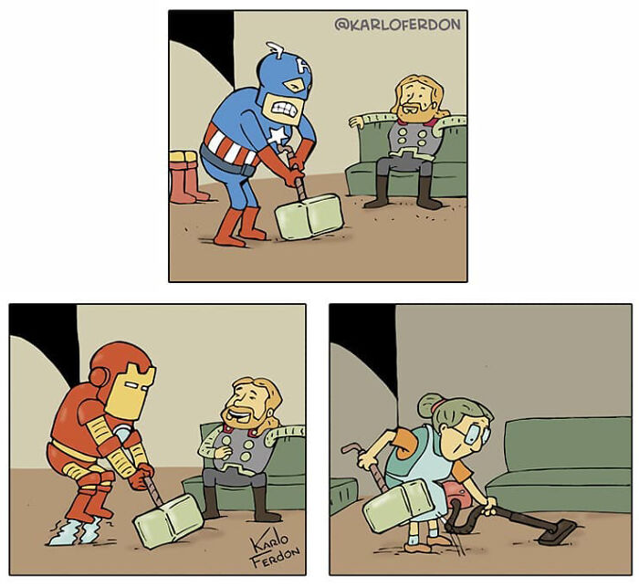 Artist Shows What Superheroes Are Doing In Their Free Time Without Saying A Word (30 New Comics)