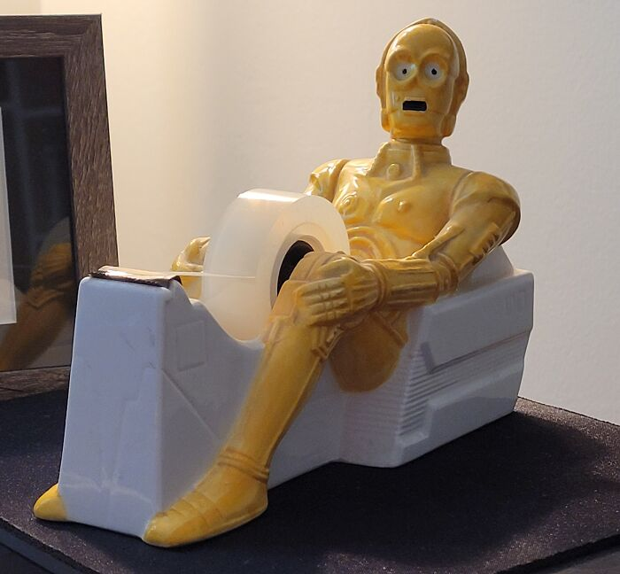 C-3po Looking Pretty Excited About Dispensing Tape. I've Had It On My Desk For Decades, Even Though It Doesn't Work. I Have To Use Scissors To Cut Off A Piece Of Tape