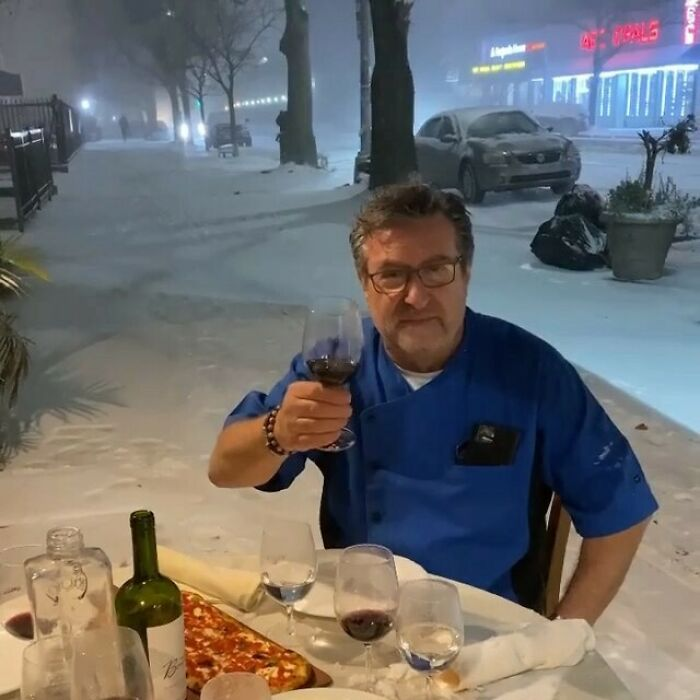 With Indoor And Street Dining Closed Last Night, Rocco, The Owner Of @trattoria_lincontro, Had Dinner With His Staff To Make The Best Of The Storm That Hit The Tri-State Area