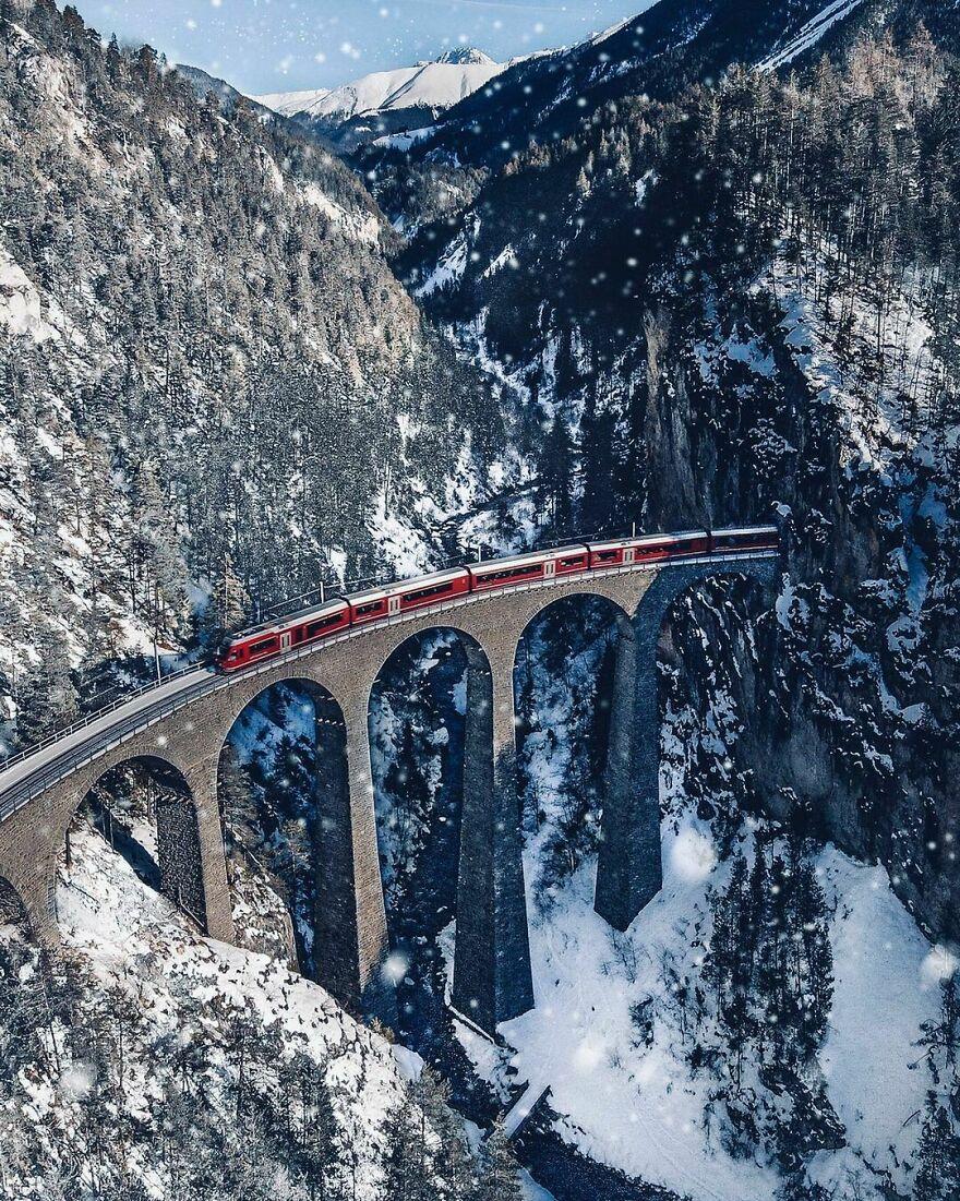 The Landwasser Viaduct In Filisur, Switzerland
