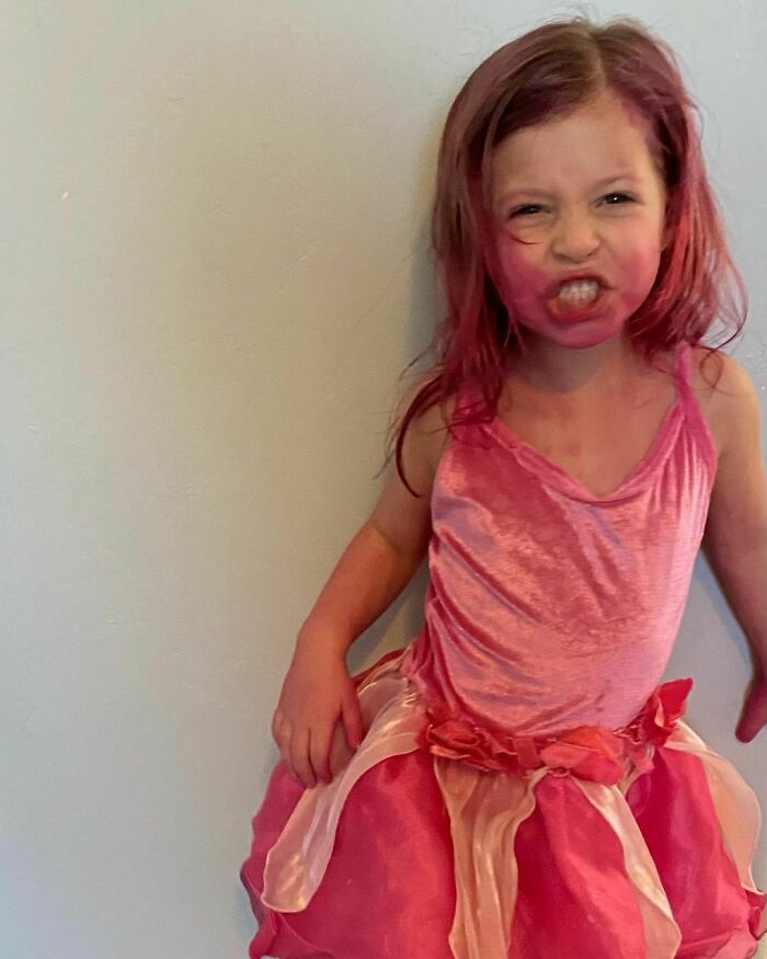 We Had An Incident - I Think It Was A Faulty Bottle. But, Nora Is In Heaven That She's Dyed Head To Toe In Pink. So We Will Call It A Lose-Win
