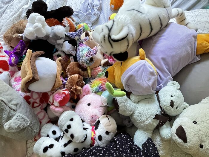 Stuffed Animals. Yes, I'm Obsessed. My Fave One Is The Sleeping Winnie The Pooh (The One With A Purple Outfit)