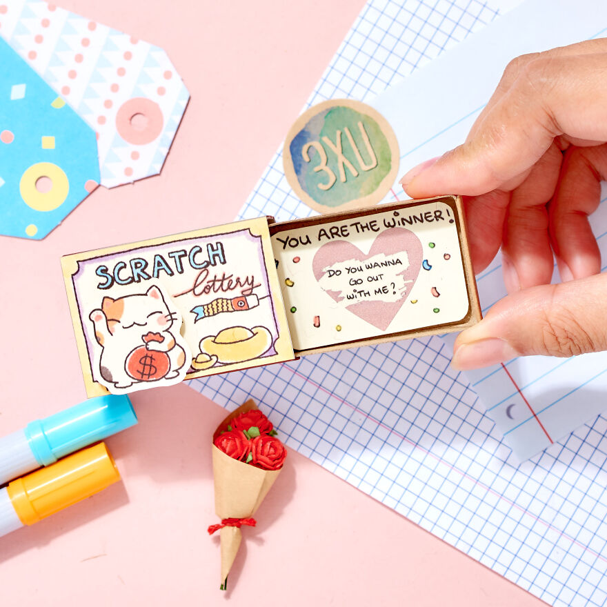 """Personalized Scratch Lottery Ticket """"You are the Winner"""" Matchbox Card"""