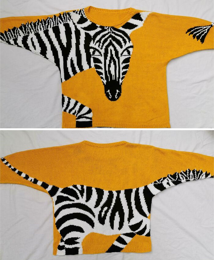 I Made This Amazing/Ridiculous Zebra Sweater From A Pattern From 1987!