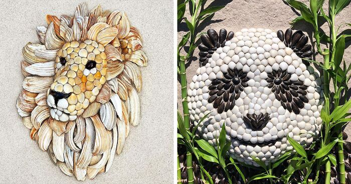 This Artist Creates Captivating Animal Portraits From Seashells Found At The Beach (30 Pics)