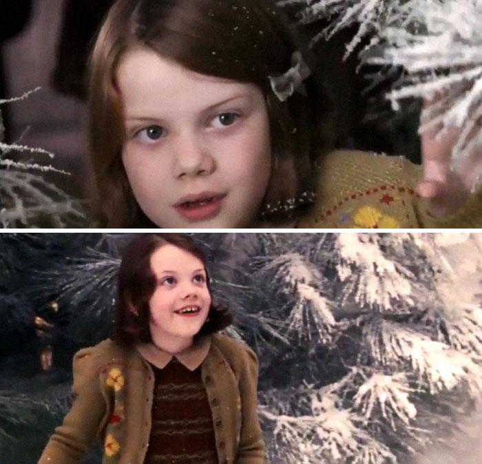 En Las Crónicas de Narnia: El León, la Bruja y el Armario (2005), cuando Lucy entra por primera vez en Narnia, su reacción es genuina. El director nunca mostró a propósito a su actriz el plató. También hizo lo mismo con el actor de Edmund