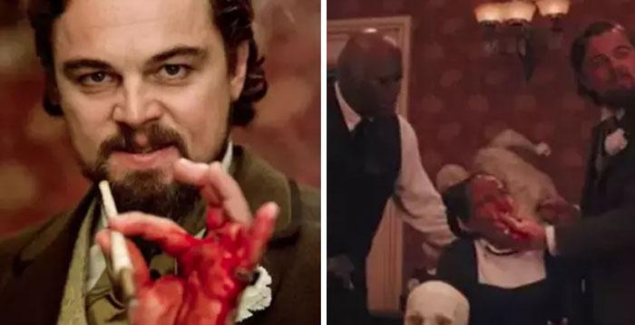 En Django Desencadenado, Leo Dicaprio se cortó accidentalmente la mano pero siguió actuando. Entre tomas, lo limpiaron y sustituyeron la sangre real por una falsa, que untó por toda la cara de Kerry Washington