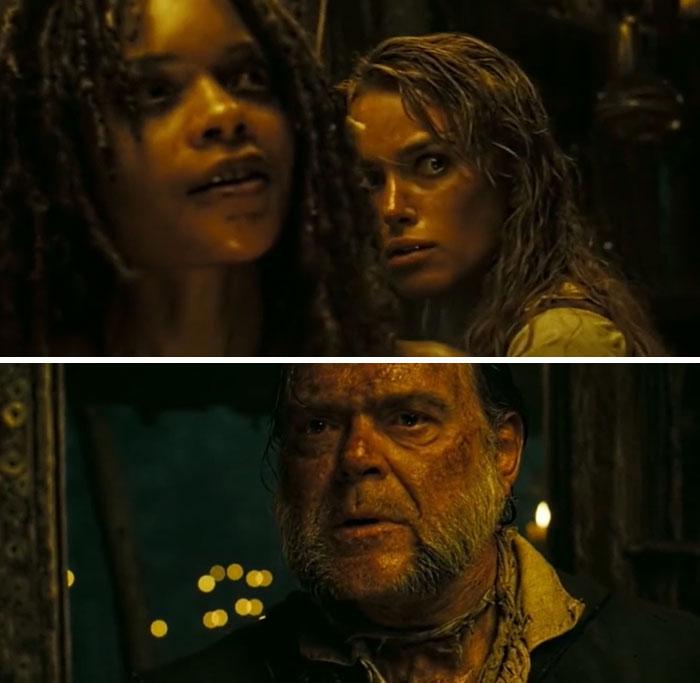 Al final de Piratas del Caribe: El Cofre Del Hombre Muerto (2006), cuando cierto personaje regresa de entre los muertos, el reparto muestra una auténtica sorpresa. Los guionistas mantuvieron el regreso del personaje en secreto, incluso sin acreditarlo