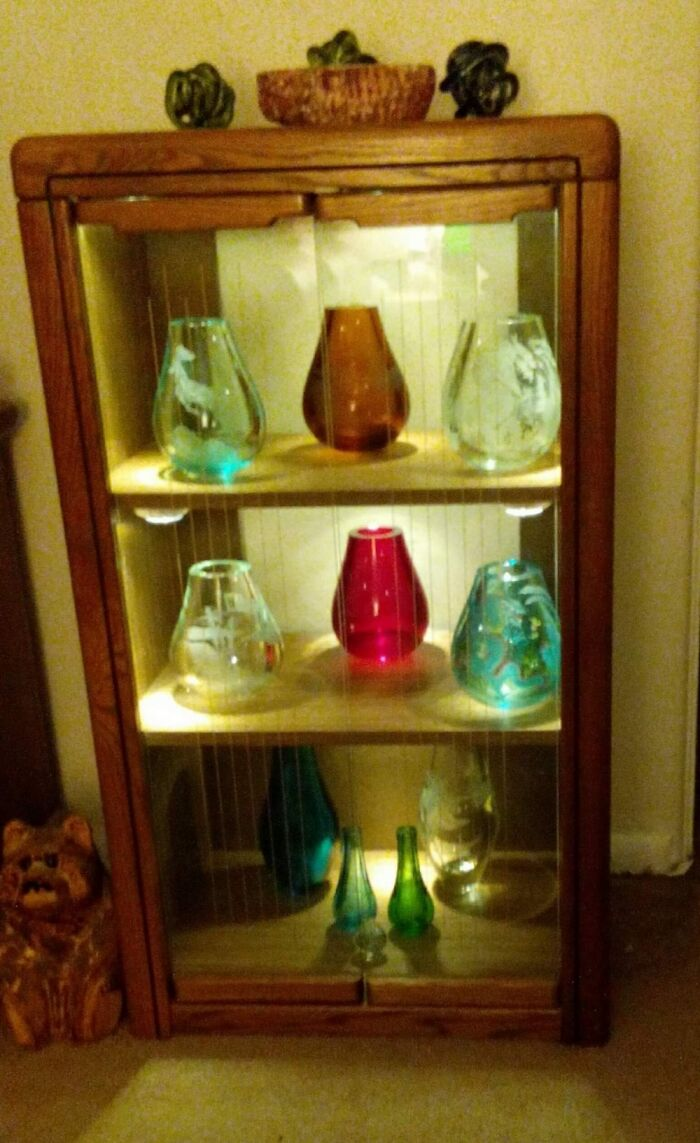 Chinese Etched Glass Vases