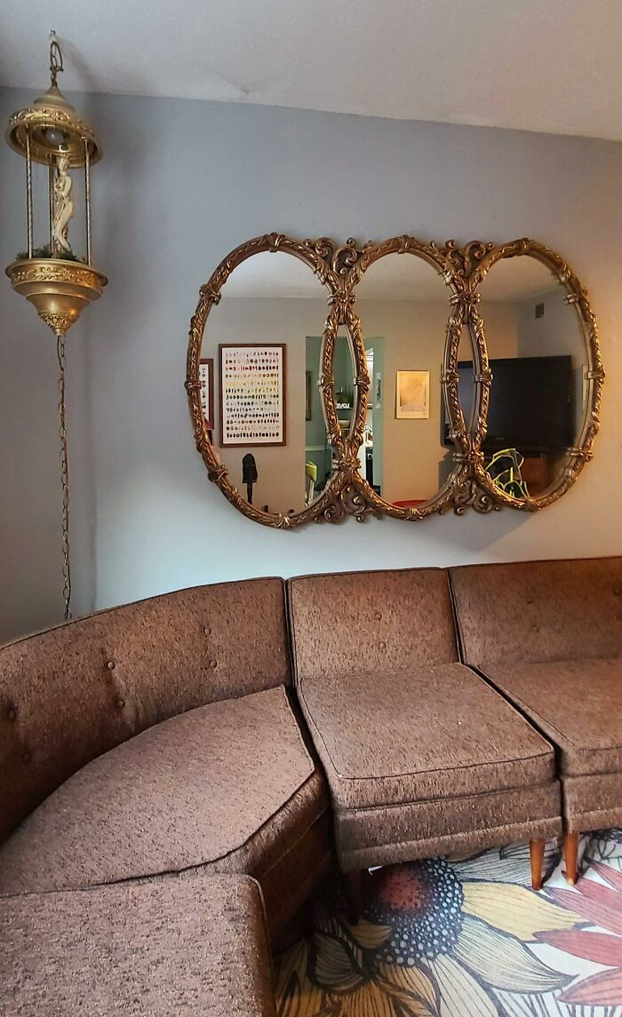 I Picked This Huge Mirror Up For $20 At A Local Thrift Store Because It Needed To Live Next To My Rain Lamp