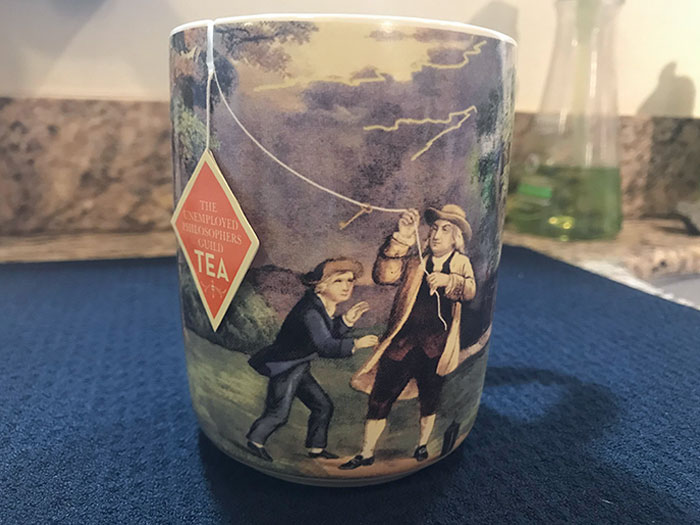 This Benjamin Franklin Mug I Just Got With A Slot To Make The End Of Your Tea Bag The Kite