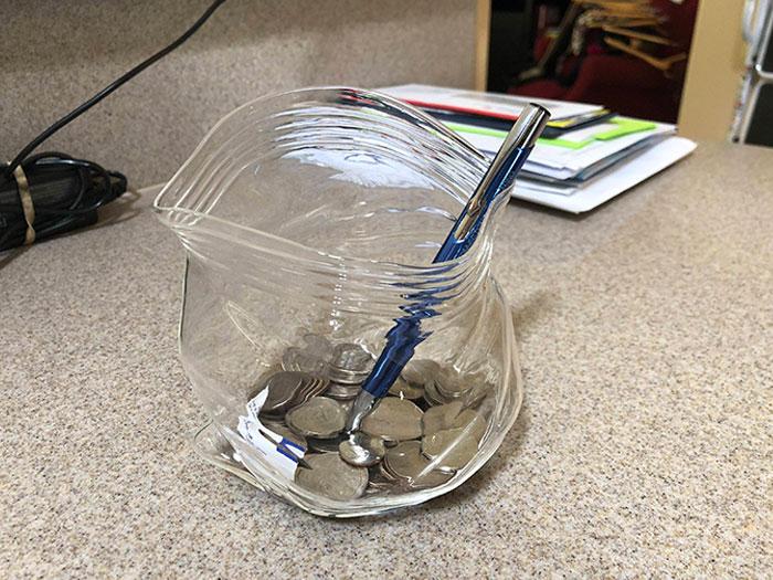 This Jar Is Shaped To Look Like A Ziplock Bag