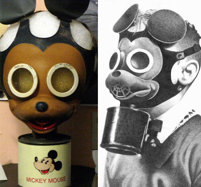 Diseño histórico espeluznante - Máscara de gas de Mickey Mouse de la Segunda Guerra Mundial