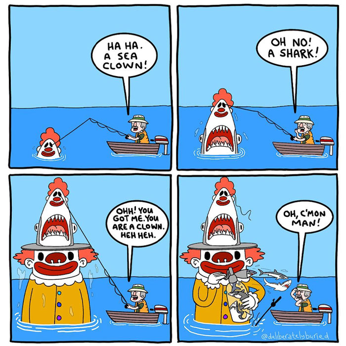 """30 Funny Comics For Those With A Darker Sense Of Humor By """"Deliberately Buried Comics"""""""