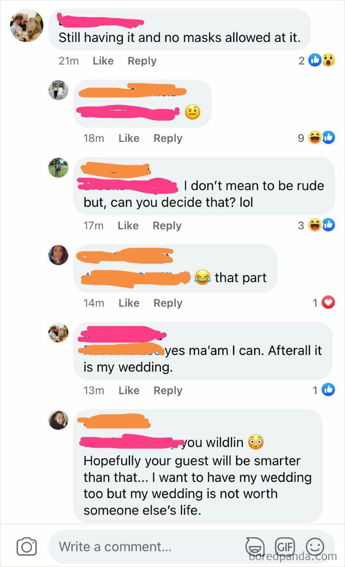 """Bride Claims """"No Masks Allowed"""" At Her Wedding"""