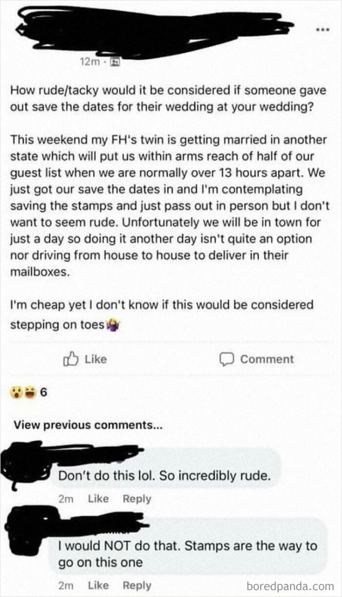 Sounds Like A Great Idea To Save A Few Cents! May Save Even More When The Twin And His New Bride Don't Come To Your Wedding!