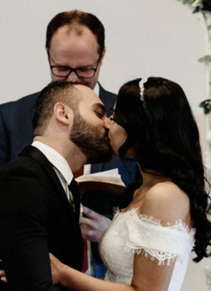 Wedding Shaming Myself A Bit... I Would Personally Recommend To Ask Your Pastor/Celebrant To Step To The Side When The Kiss Takes Place. All Personal Preference Ofcourse. Although Hubby's Hair Does Smell Good