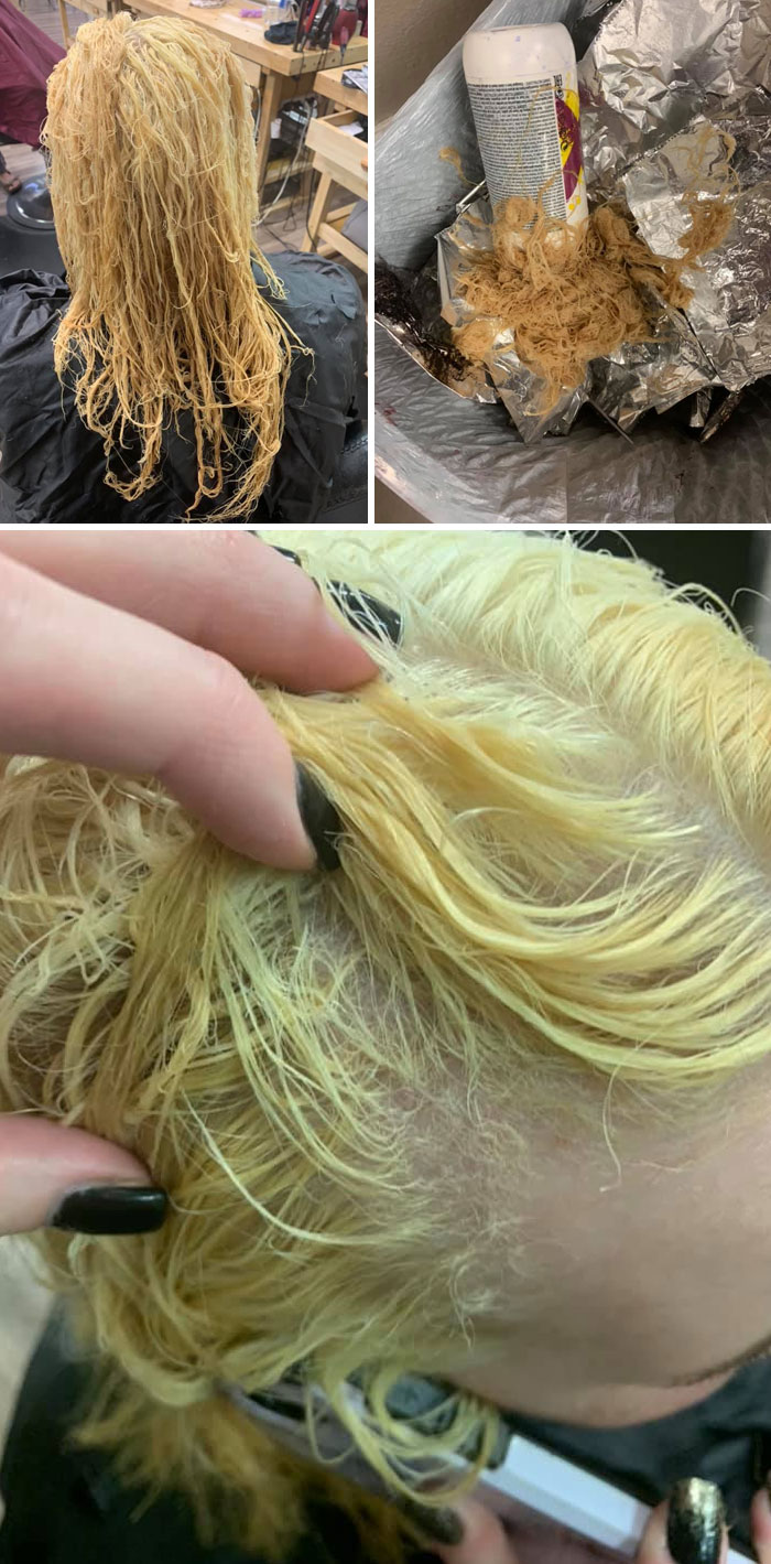 I'm Sharing This For Educational Purposes Only. She Bleached Her Box Colored Hair At Home And Then Put A Relaxer On It To Control Frizz. Her Hair Is Beyond Recovery
