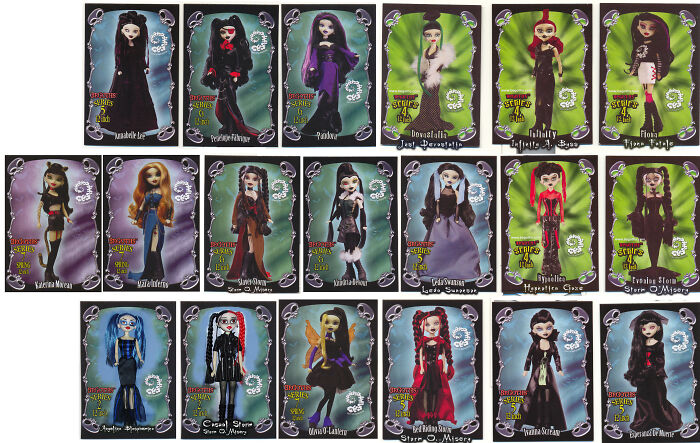 Bleeding Edge Goth Dolls. This Is A Scan Of The Cards From All The Ones I Have.