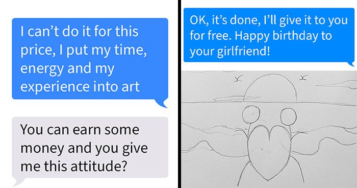 Artist Responds With A Drawing Worth Exactly 3 Dollars After Disrespectful Guy Offers Her That Much For A Detailed Painting