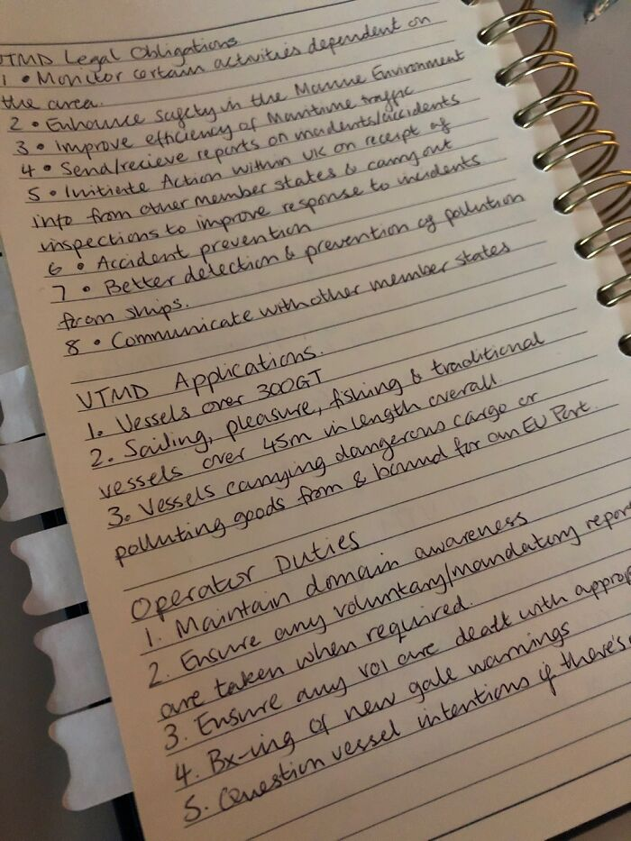 Here's My Handwriting - Notes In Prep For A Maritime Exam!
