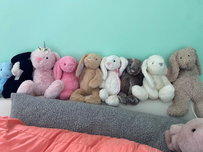 This Is Only A Few Of Them, But I Collect Bunny Stuffed Animals.