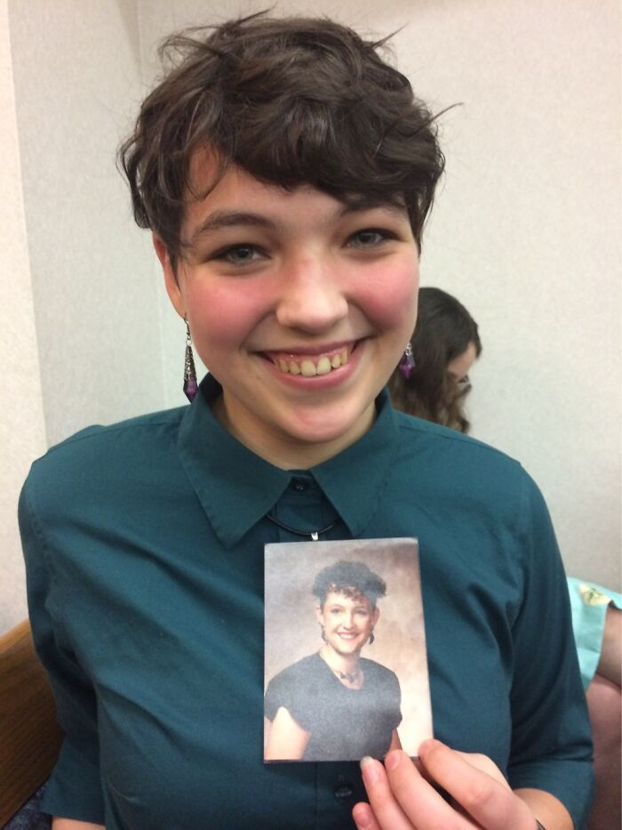 This Is My 18 Yo Daughter Holding A Picture Of Me In My Senior Year. Copy+paste