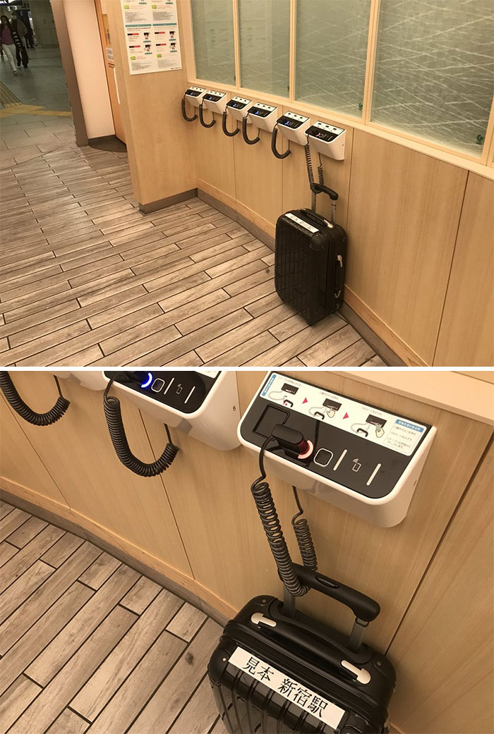 Anti-Theft System For Bags I Found In The Space In Front Of The Toilet At Shinjuku Station This Week And I Really Like It