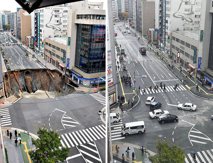 Japan Repair A Sinkhole In Fukuoka City In 2 Days