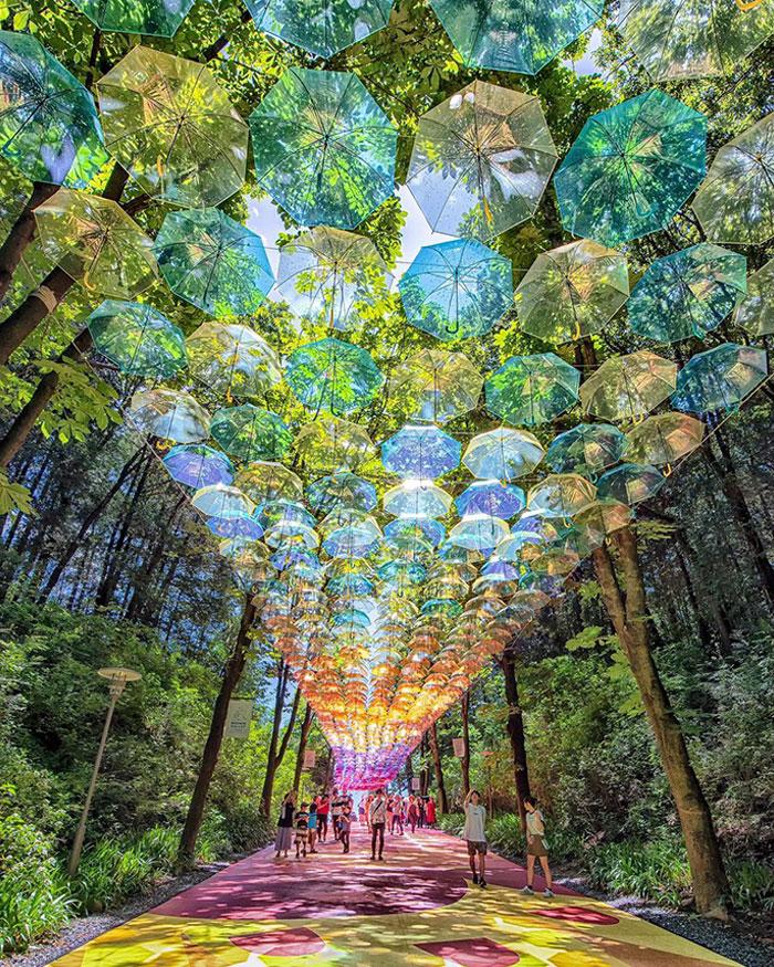 Long Walkway Covered In Semi-Transparent Umbrellas In Moominvalley Park, Saitama Prefecture, Japan