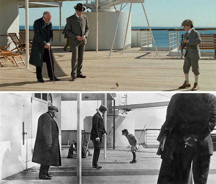 En Titanic (1997) hay una escena que muestra a un niño jugando con una peonza en la cubierta. En realidad es una recreación de una foto real tomada a bordo del barco el 11 de abril de 1912 por Francis Browne. Muestra al pasajero de primera clase Frederic Spedden y a su hijo de 6 años Douglas. Ambos sobrevivieron al hundimiento