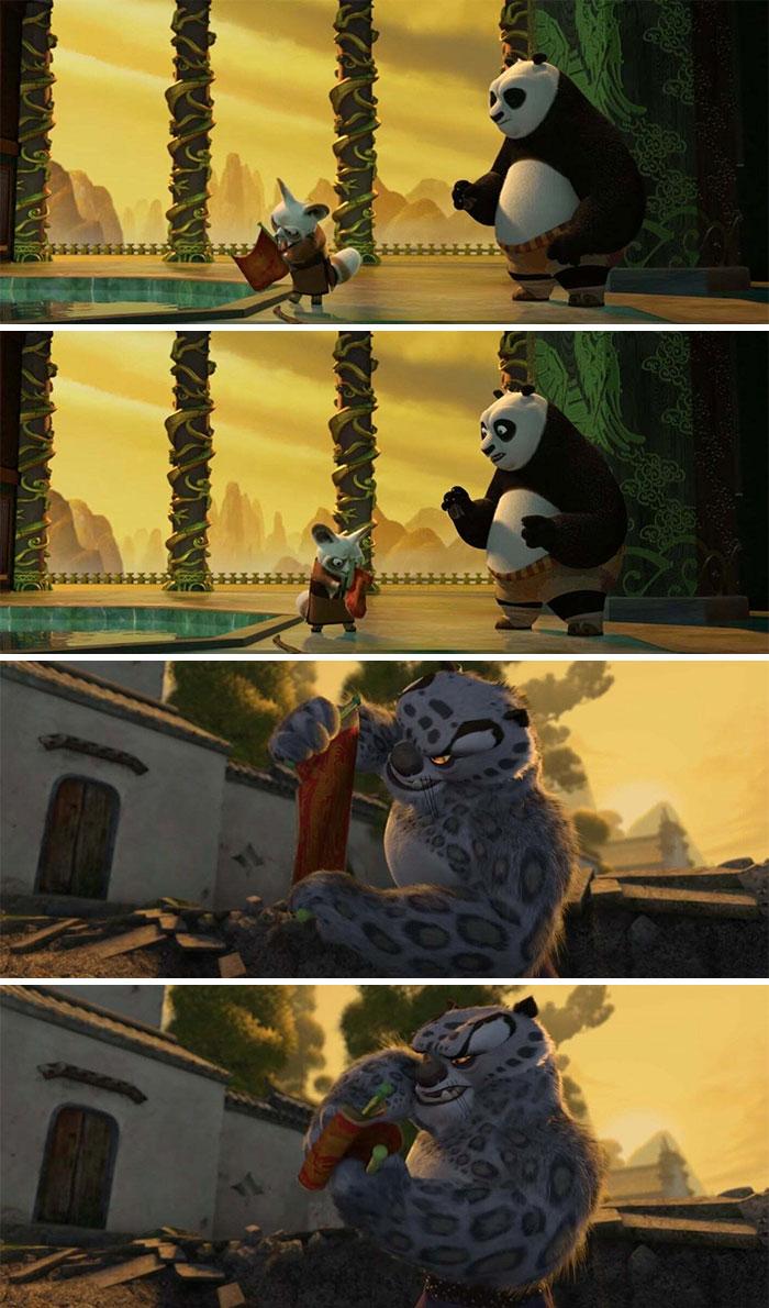 En Kung Fu Panda (2008), cuando Shifu y Tai Lung vieron por primera vez el rollo de dragón en blanco, tuvieron las mismas reacciones iniciales: Mirarlo de reojo y doblarlo y abrirlo de nuevo. De tal palo, tal astilla