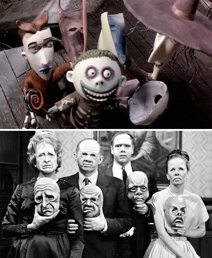 """En Pesadilla antes de Navidad (1993), la escena en la que Lock, Shock y Barrel se quitan las máscaras se basó en un episodio de la quinta temporada de The Twilight Zone llamado """"Las máscaras"""", que tuvo un gran impacto en Burton cuando era niño"""