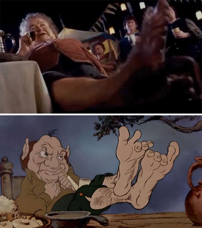 En El Señor de los Anillos: La Comunidad del Anillo (2001), el plano de Odo Ganapié con los pies en el aire es un homenaje directo a la adaptación animada de 1978 de El Señor de los Anillos, dirigida por Ralph Bakshi