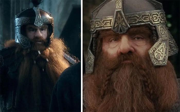 En El Hobbit: La Batalla de los Cinco Ejércitos (2014), Gloin lleva un distintivo casco en una escena. Su hijo Gimli lo heredará más tarde y lo llevará durante El Señor de los Anillos