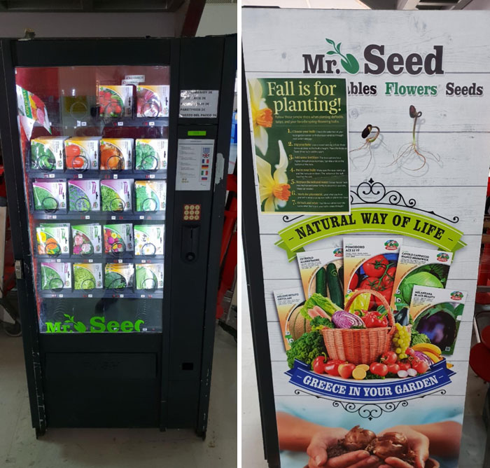 Esta máquina expendedora en Grecia está llena de semillas para cultivar hierbas, verduras y flores