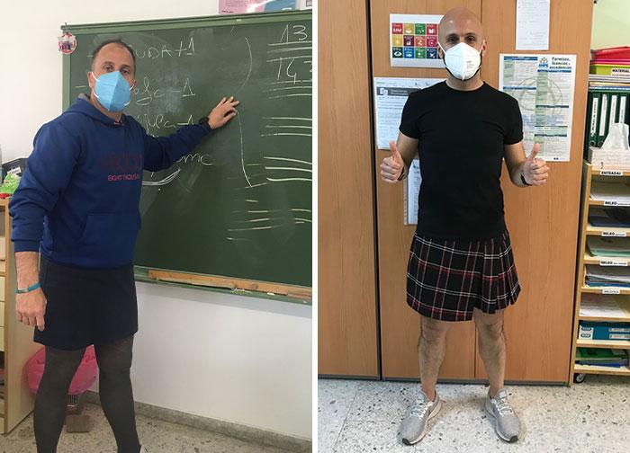 Estos profesores se pusieron falda en clase para protestar por la expulsión de un estudiante