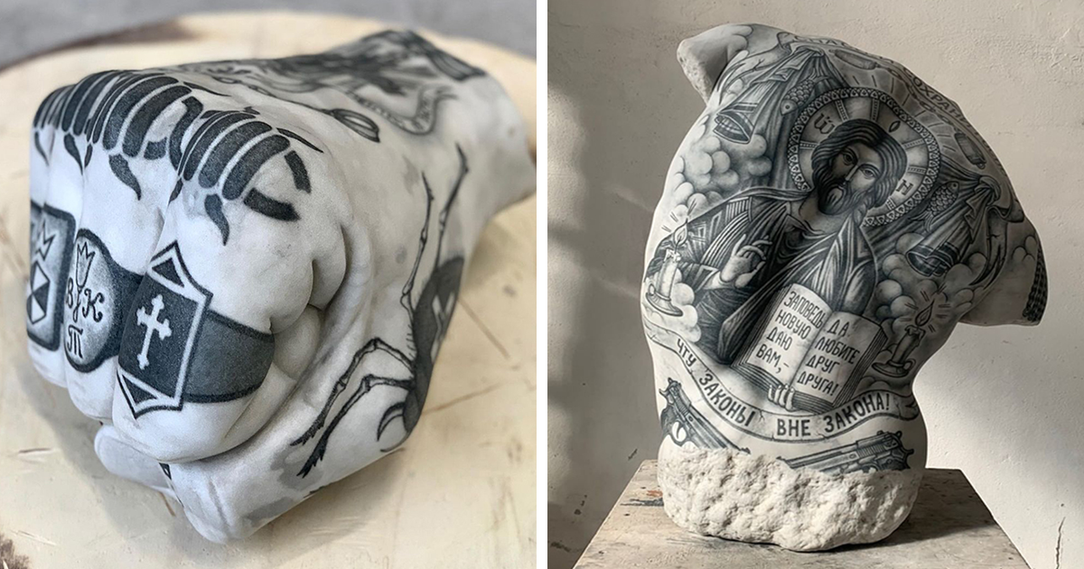 Italian Artist Proves Tattoos Look Good On More Than People's Skin By Putting Them On His Sculptures (25 Pics)