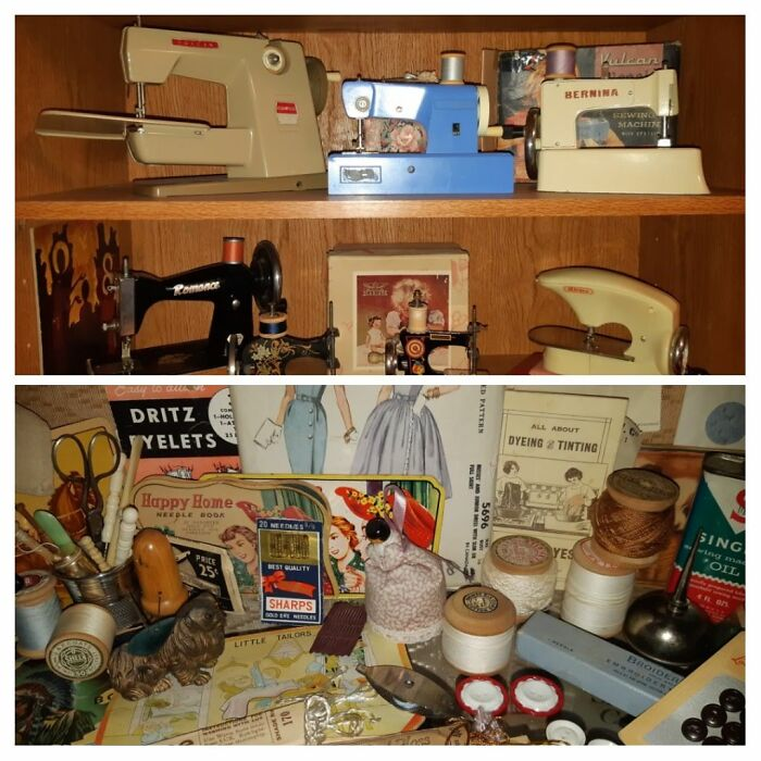 20th Century Toy Sewing Machines And 19th And 20th Century Sewing Implements. This Is A Tiny Sample!