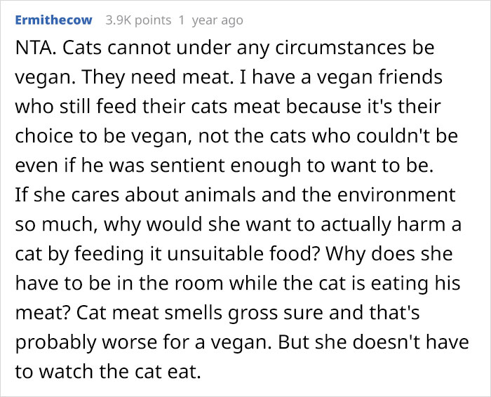 Vegan Stepdaughter Makes A Scene After Parents Refuse To Change Their Cat's Diet To Vegan