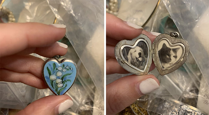 Woman Opens Her Stepgrandmother's Locket To Find Tiny Pictures Of A Dog And A Cat Inside
