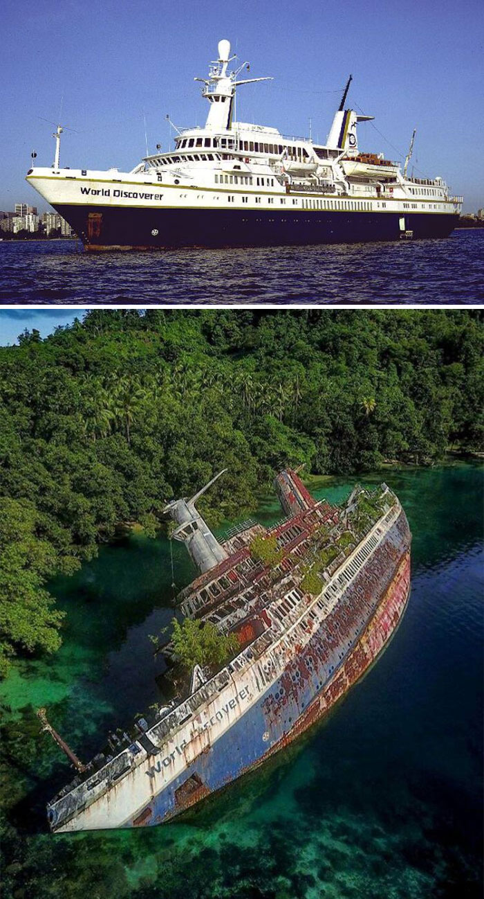 """A Sunken Ship Called """"World Discoverer"""" Before And After It Sunk"""