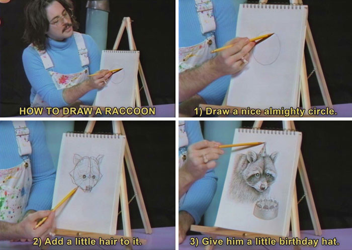 How To Draw A Racoon With A Party Hat