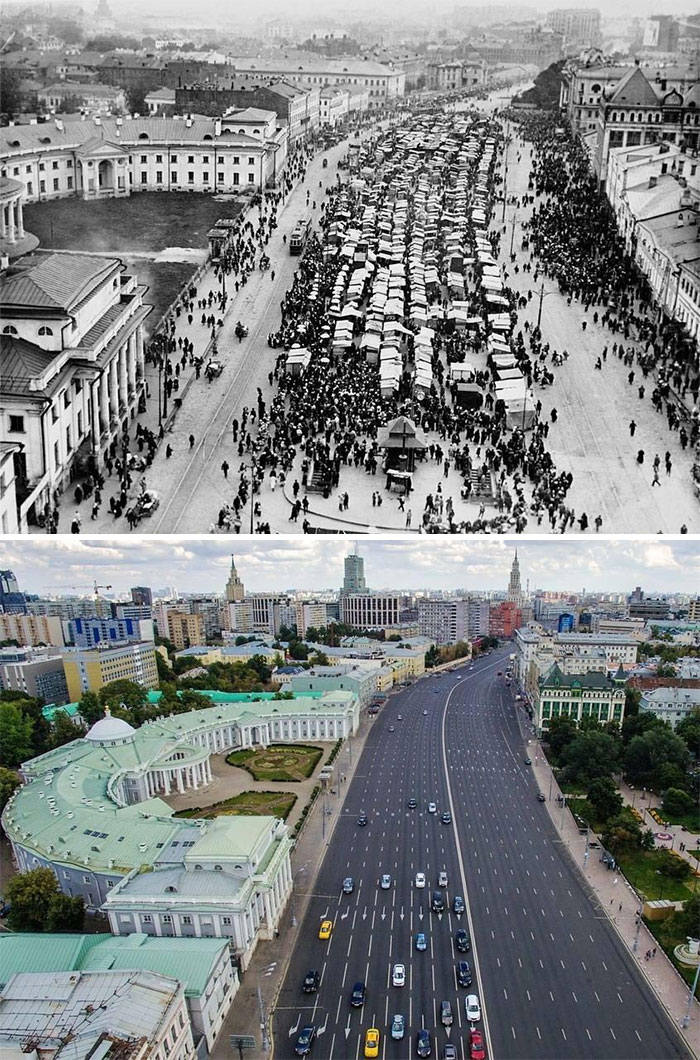 16-Lane Highway Built Through The Downtown Where A Market Square Used To Be In Moscow, Russia