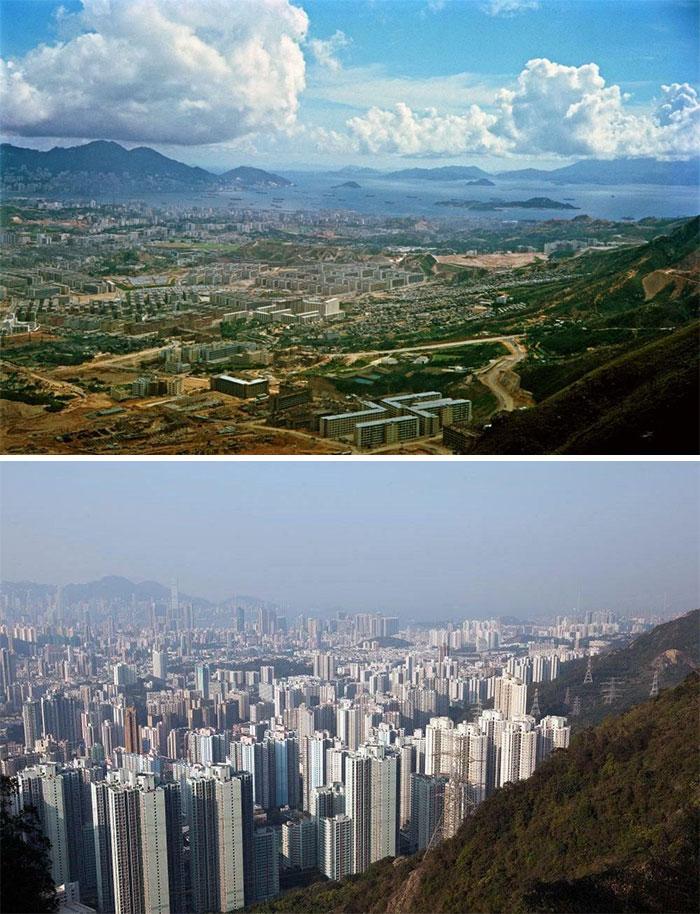 Kowloon Peninsula, Hong Kong. Comparison Of 1964 - 2016.