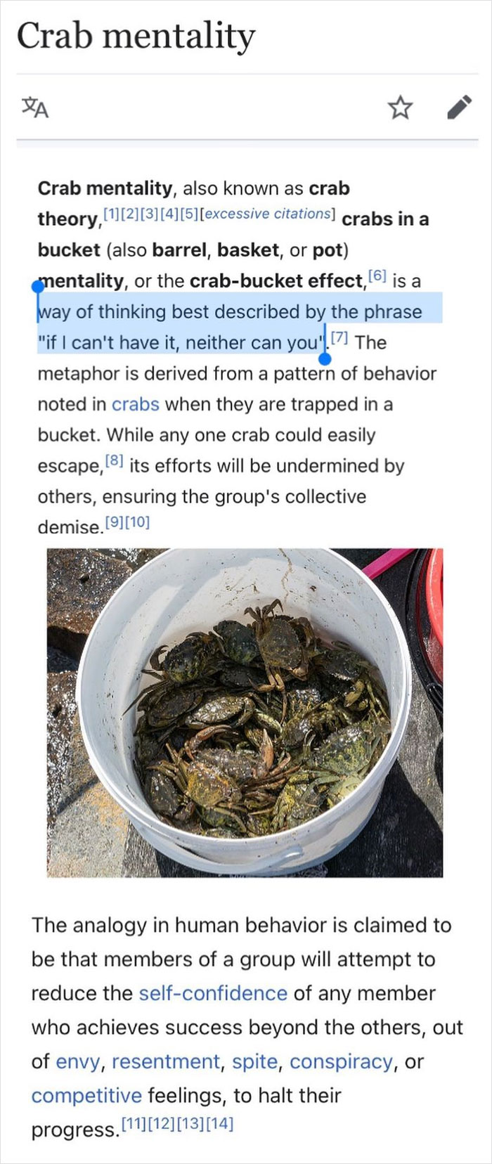Just Like Crabs In A Bucket Block The Escape Attempts Of Other Crabs, People In A Group May Attempt To Sabotage The The Most Talented Group Member Out Of Envy And Spite