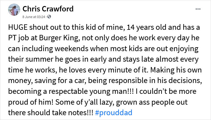 """Dad Brags That His 14-Year-Old-Son Works """"Every Day He Can"""" At Burger King, Leading To A Fierce Debate Online"""