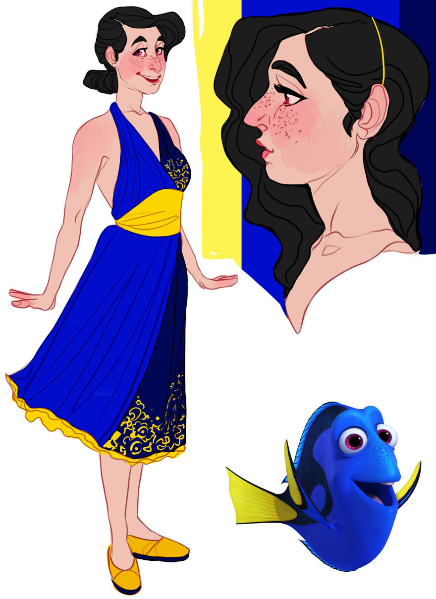 Dory from Finding Nemo and Finding Dory.