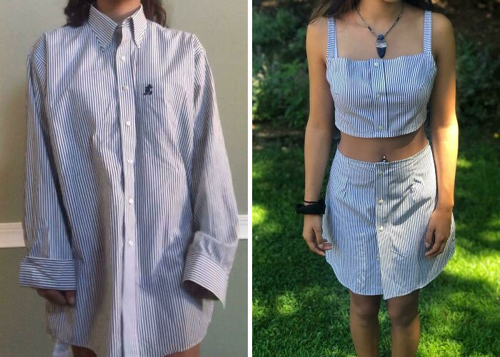 I Made A Two Piece Outfit Out Of This Men's Shirt I Got For $2.50 At Salvation Army