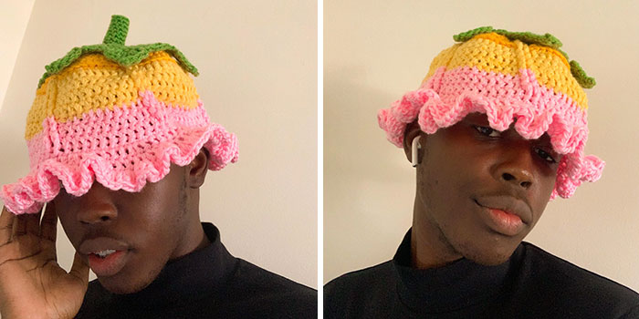 My Friend Loves Flowers And The Color Yellow So I Made This Hat. How'd I Do?
